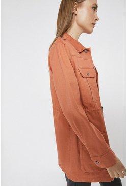 Peach Cotton Drawcord Utility Jacket