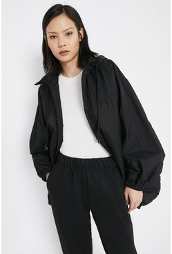 Black Contrast Zip Windbreaker