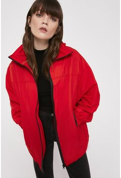 Red Contrast Zip Windbreaker