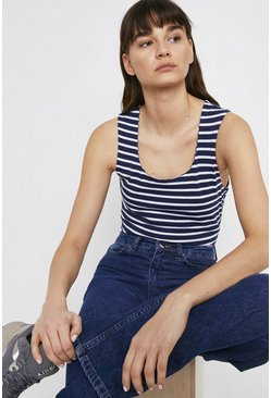 Navy Organic Cotton Essential Stripe Scoop Neck Vest