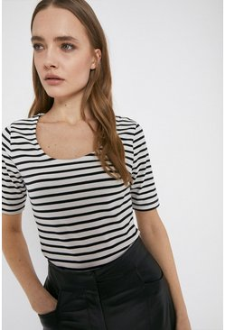 Blackwhite Organic Cotton Essential Stripe Scoop Neck Tee