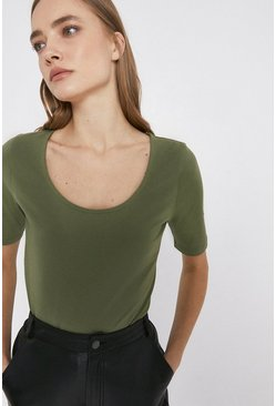 Khaki Organic Cotton Essential Scoop Neck Tee