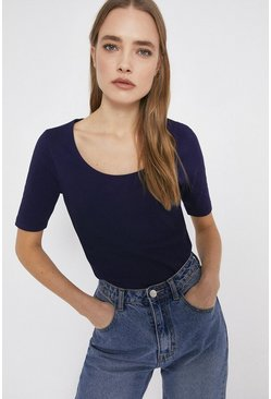 Navy Organic Cotton Essential Scoop Neck Tee
