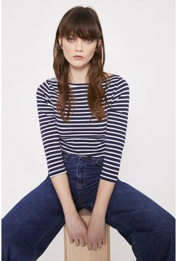 Navy Organic Cotton Essential Stripe Slash Neck Top
