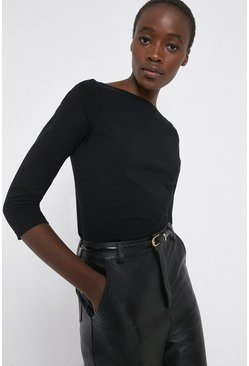 Black Organic Cotton Essential Slash Neck Top