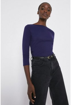 Navy Organic Cotton Essential Slash Neck Top
