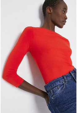 Red Organic Cotton Essential Slash Neck Top