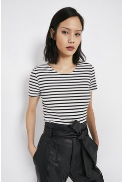 Black Organic Fitted Stripe Tee