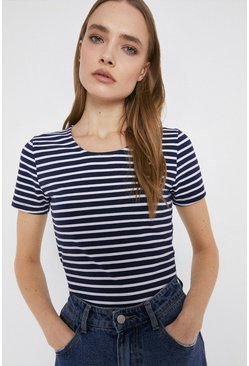 Navy Organic Fitted Stripe Tee