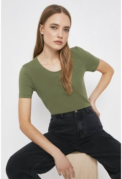 Khaki Organic Cotton Essential Fitted Crew Neck Tee