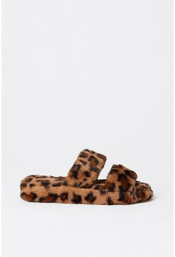 Brown Leopard Print Fluffy Slipper