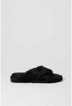 Black Fluffy Slipper