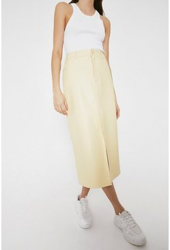 Yellow Faux Leather Western Skirt