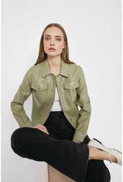 Sage Faux Leather Western Jacket