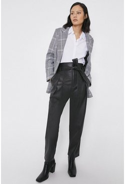 Black 80's Tie Waist Faux Leather Peg Trousers