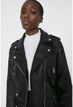 Black Faux Leather Biker Jacket with Arrow Pocket