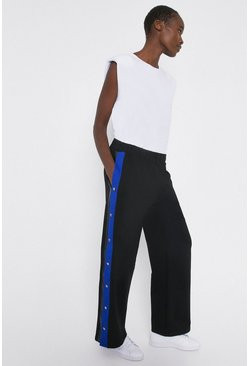 Blue Colourblock Popperside Wide Leg Joggers