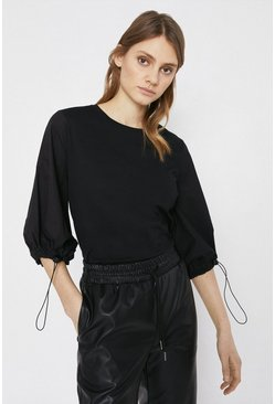 Black Woven Mix Drawcord Sleeve Top