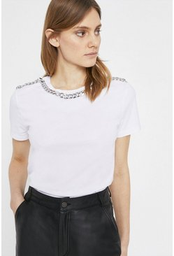 White Chain Trim Tee