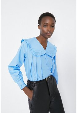 Blue Shirt With Collar Detail