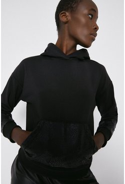 Black Animal Print Panelled Hoodie