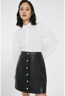 Black Faux Leather Popper Front Pelmet Skirt