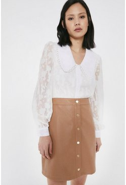 Camel Faux Leather Popper Front Pelmet Skirt