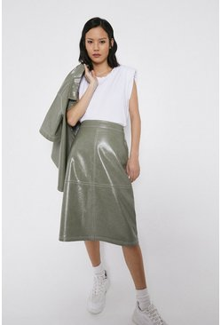 Sage Patent Seamed A Line Skirt