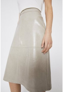 Stone Patent Seamed A Line Skirt