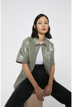 Sage Patent Faux Leather Short Sleeve Shirt