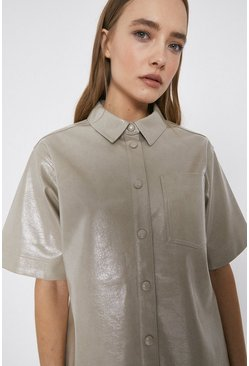 Stone Patent Faux Leather Short Sleeve Shirt