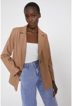Camel Faux Leather Blazer