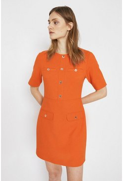Orange Pocket Detail Button Shift Dress