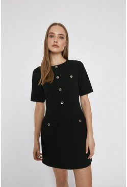 Black Pocket Detail Button Shift Dress