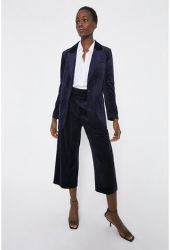 Navy Velvet Wide Cropped Trouser