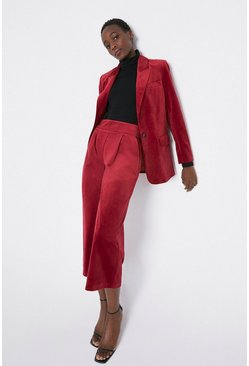 Red Velvet Wide Cropped Trouser