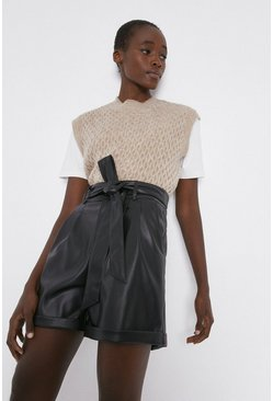Black Faux Leather Tie Waist Short