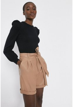 Camel Faux Leather Tie Waist Short
