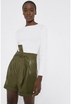 Khaki Faux Leather Tie Waist Short