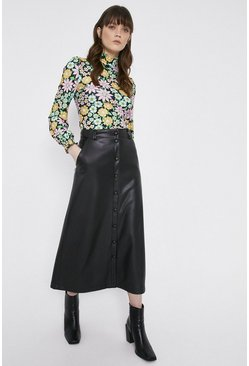 Black Faux Leather Popper front Midi Skirt