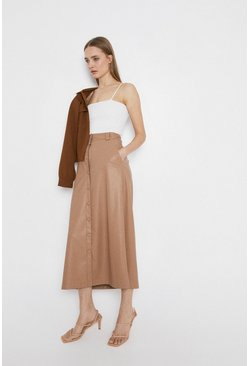 Camel Faux Leather Popper front Midi Skirt