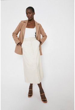 Cream Faux Leather Popper front Midi Skirt