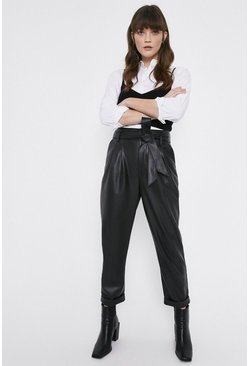Black Faux Leather Peg Trousers