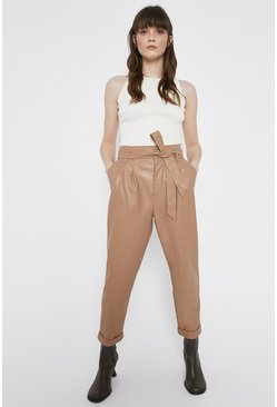 Camel Faux Leather Peg Trousers