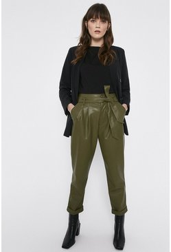 Khaki Faux Leather Peg Trousers