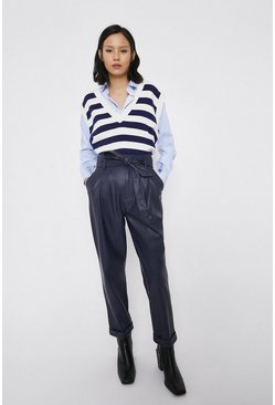 Navy Faux Leather Peg Trousers