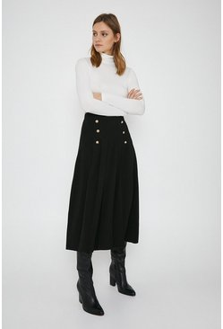Black Gold Button Pleated Skirt