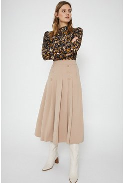 Camel Gold Button Pleated Skirt