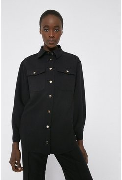 Black Twill Tailored Overshirt
