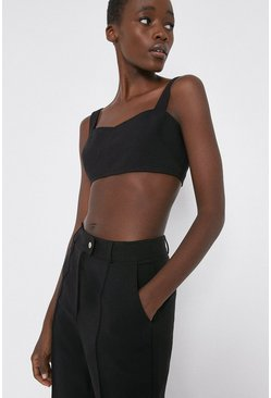 Black Twill Tailored Bralet